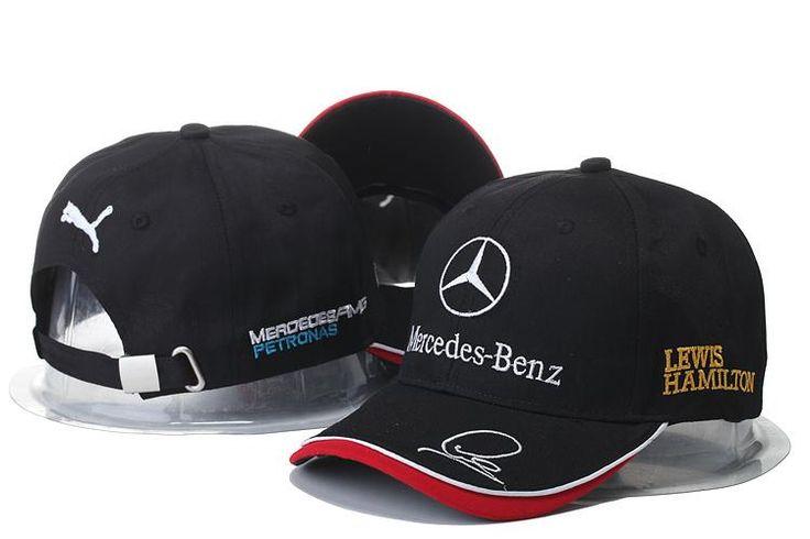 Mens / Womens Unisex Mercedes Benz x Puma AMG PETRONAS F1 LEWIS HAMILTON Baseball Adjustable CAP - Black / White / Red