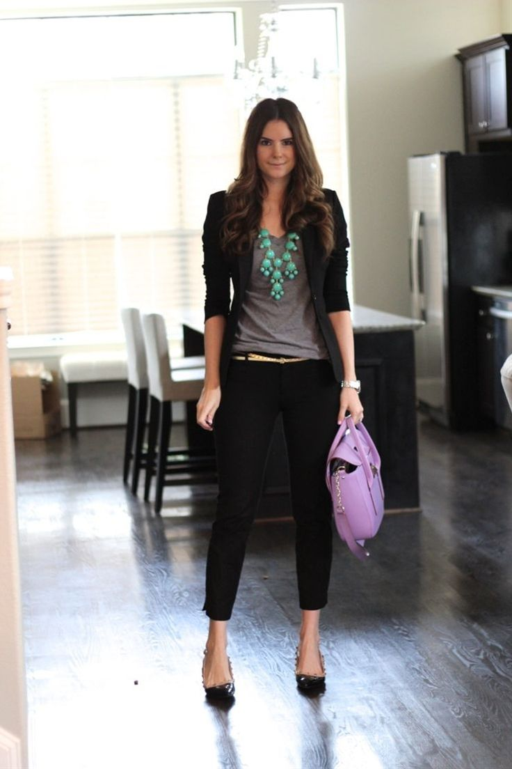turquoise bubble necklace with a simple gray tee , paired with simply black slim dress pants, a skinny gold belt and a fitted black blazer