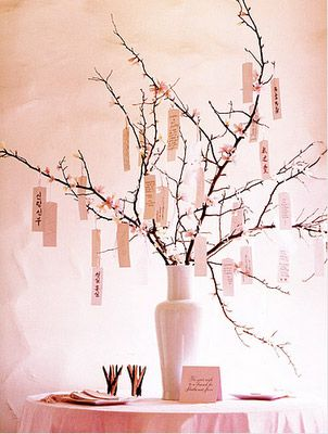 wish tree. guests write messages to bride&groom and clip to branches.
