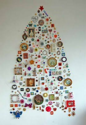 wall tree: Xmas Trees, Christmas Tree Ideas, Art, Christmas Trees Ideas, Small Spaces, Christmas Decor, Holiday Decor, Christmas Ideas, Diy Christmas Tree