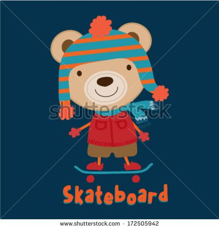 Cute teddy bear skateboarding. Vector illustration by graphic7, via Shutterstock