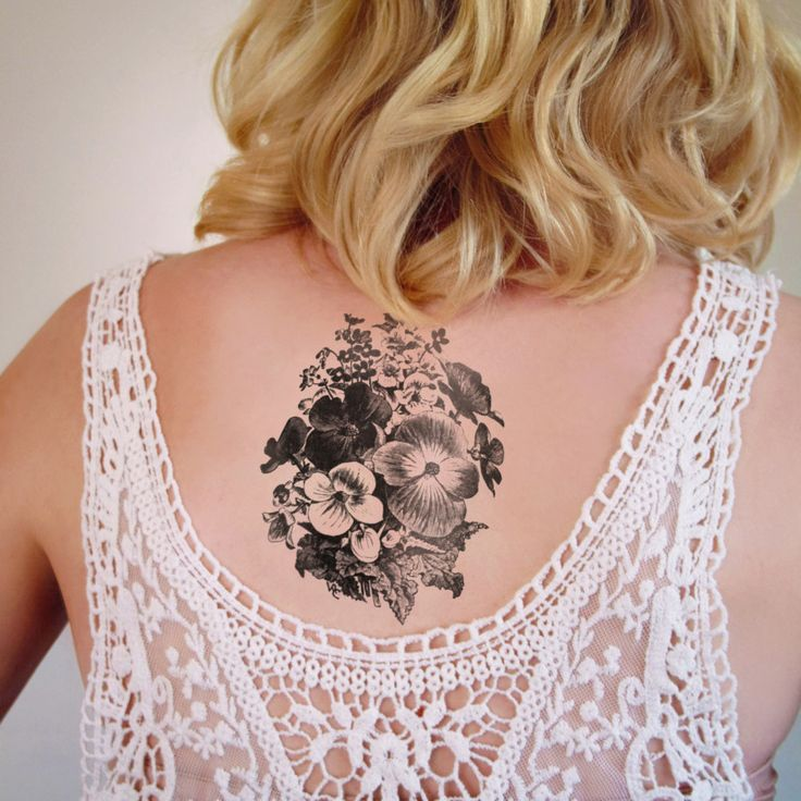 Black and white violets tattoo