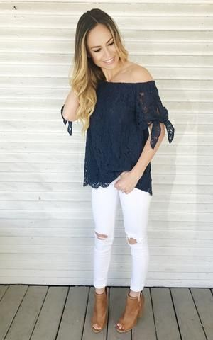 21f45dcba997 Addison. Off the shoulder top. Navy lace top. Tie sleeves. Dressy ...