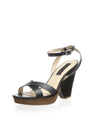 54% OFF STEVEN by Steve Madden Women's Rayvenn Wedge Sandal (Black Leather)