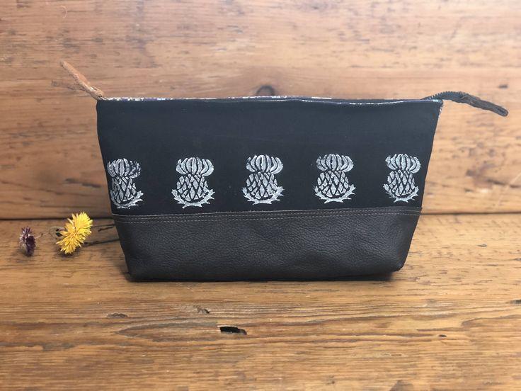 Celtic Canvas and Tweed Bag - Make-up bag, Art bag, Pencil case