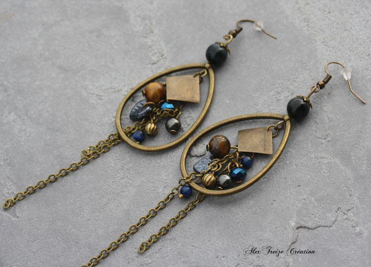 Bijou Créateur - Boucles d'oreilles pendantes créoles goutte bronze Chaînes perles semi-précieuses tons bleu camel et hématite : Boucles d'oreille par alextreize-creation