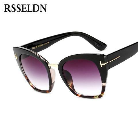 04c9bf5318 RSSELDN Fashion Oversize Cat Eye Sunglasses Women Summer High Quality Ladies  Designer Sun Glasses For Women Cat Eye oculos UV400