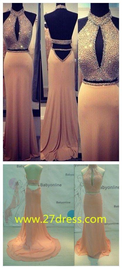 $169--Stunning 2015 Beading Womens Evening Gowns Halter Backless Long Chiffon Prom Dress from 27dress.com