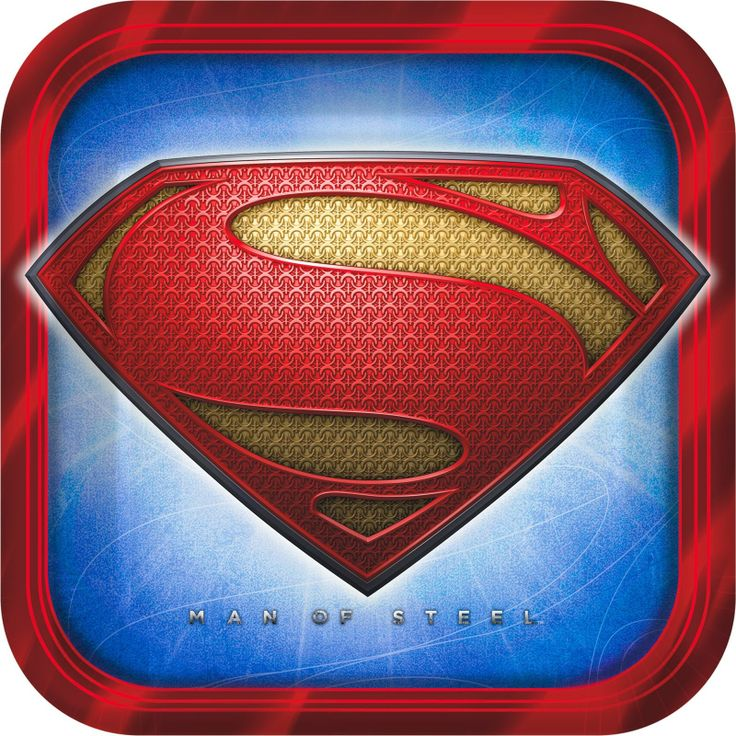 """Superman: Man of Steel Square Dinner Plates - Includes: (8) paper 9"""" x 9"""" square dinner plates to match your party theme. This is an officially licensed DC Comics product."""