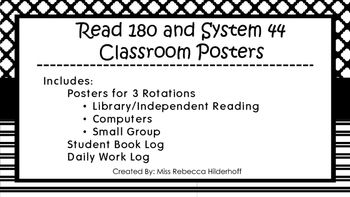Classic black and white print posters to make any Read 180/System 44 classroom. 3 posters to identify the 3 rotations and describe student expectations. 3 additional posters assign each of the 3 groups to their rotation schedule. Also, student work log and book log is included for students to record progress, making it easy for you to monitor student work.