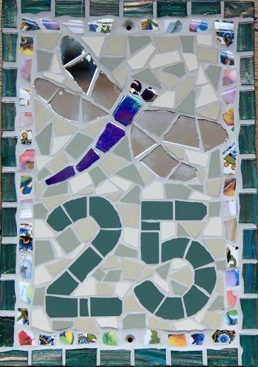 No. 25 Dragonfly Unglazed ceramic and vitreous glass tiles, vintage crockery, mirror TomatoJack Arts