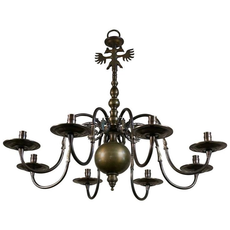 Bronze Flemish Style Chandelier for Candles with Double Headed Eagle, circa 1940 | From a unique collection of antique and modern chandeliers and pendants at https://www.1stdibs.com/furniture/lighting/chandeliers-pendant-lights/