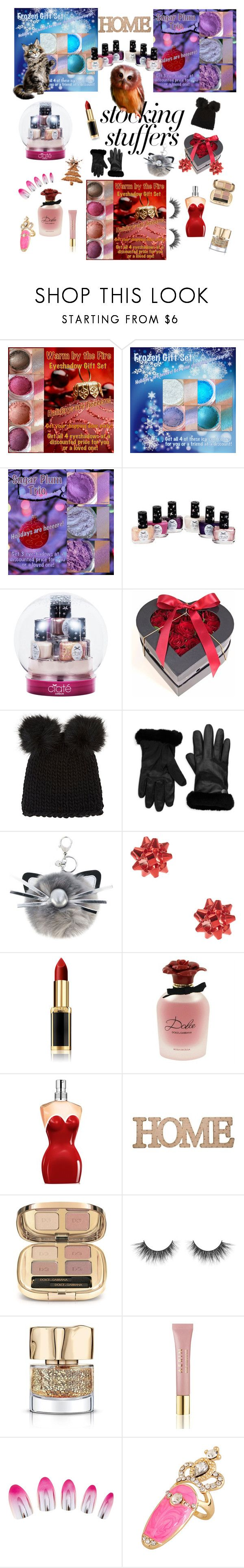 """""""#PolyPresents: Stocking Stuffers"""" by marina-hofman-mallander ❤ liked on Polyvore featuring beauty, Ciaté, Barneys New York, UGG, MARC CAIN, L'Oréal Paris, Dolce&Gabbana, Jean-Paul Gaultier, Home Essentials and AERIN"""