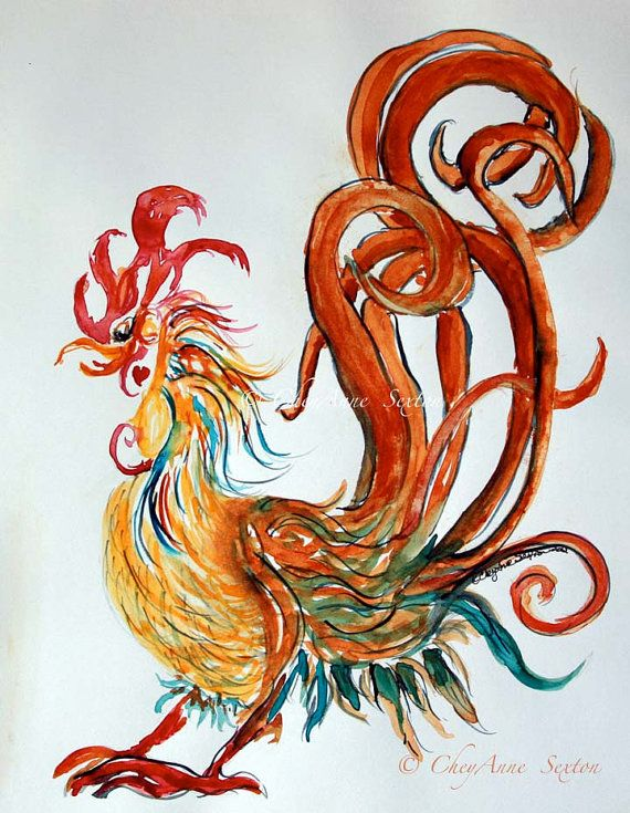 Rooster Art  Golden Swirly Heart Rooster  cocky by CheyAnneSexton, $35.00