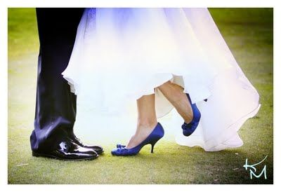 Show me pictures of your blue shoes with your wedding dress! « Weddingbee Boards