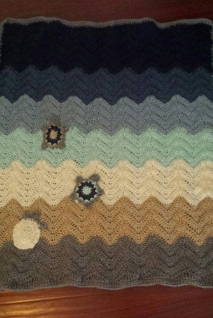 Crochet hatching turtles and ocean  blanket
