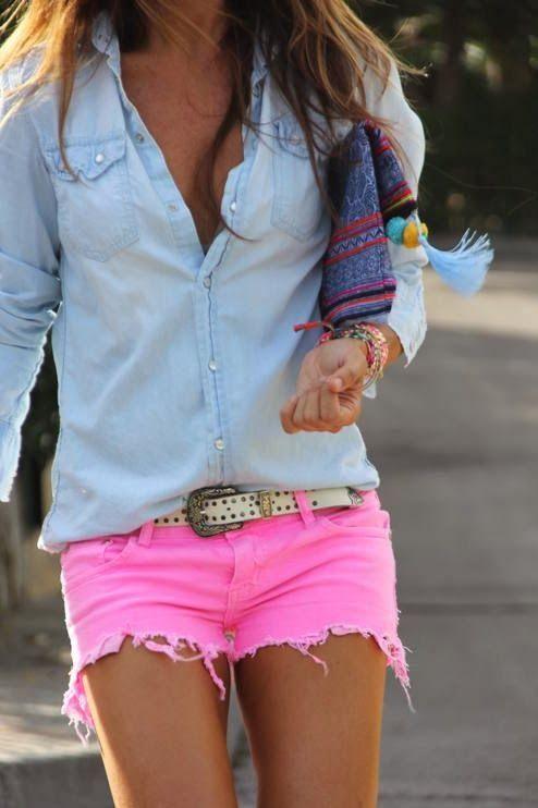 Chambray shirt and pink shorts-- liking this.