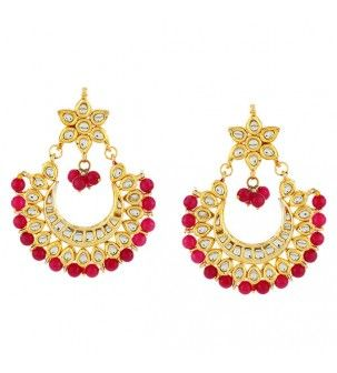 Red And White Kundan Moon Jhumka