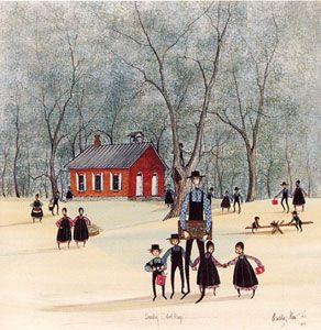P. Buckley Moss   I grew up with her paintings in my house. I love them. So whimsical. So innocent.