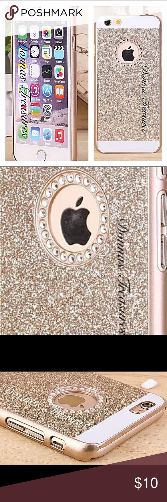 ❤️Crystal Rhinestone & Gold iPhone 6S+ This beautiful case is made of a double layer of high quality hard Polycarbonate PC.   It snaps on & off. Please note this is to cover the back & sides as well as provide a shockproof buffer if it falls face down. It does not have a plastic covering for the front.  The precisely cut openings allow full access to all the functions of your phone.  #0873/3 Accessories Phone Cases