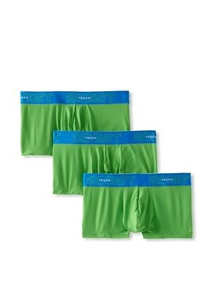 2xist Men's Touch Contour Pouch No-Show Trunks - 3 Pack (Bamboo Green/Sky Diver)