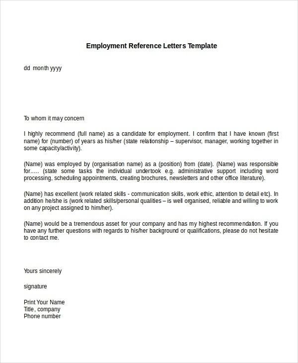 Sample Recommendation Letter For Job From Employer Within Sample In Sample Reference Letters For