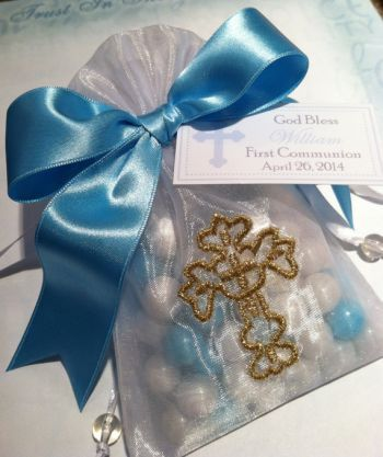First Communion Cross Organza Bag Favor With Candy