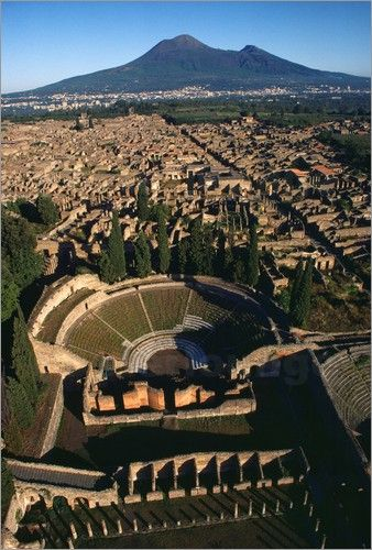 A view over Pompeii toward Mount Vesuvius, province of Naples, Campania