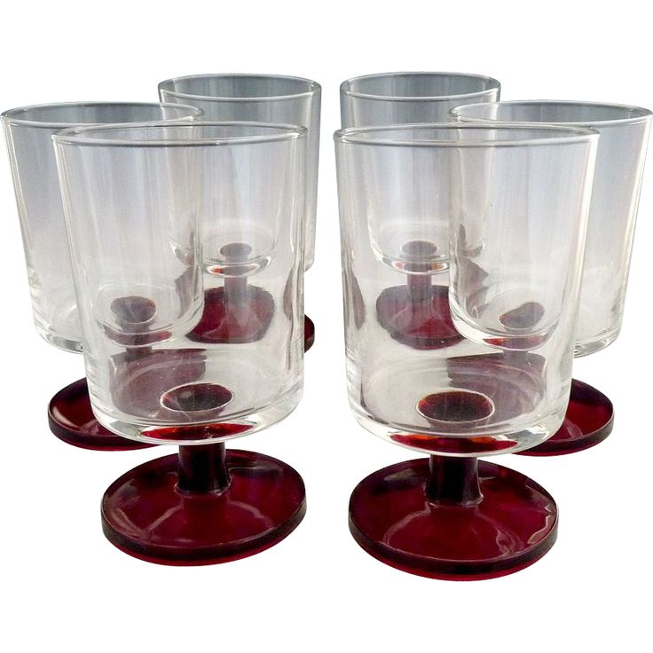 Aren't these gorgeous? Vintage French glasses ruby pedestals from Victoria's Curio on Ruby Lane