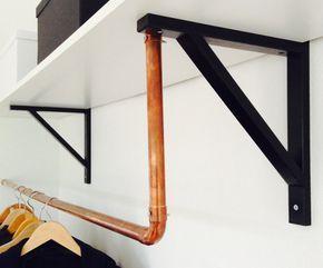 DIY Kleiderstange aus Kupferrohr im Detail
