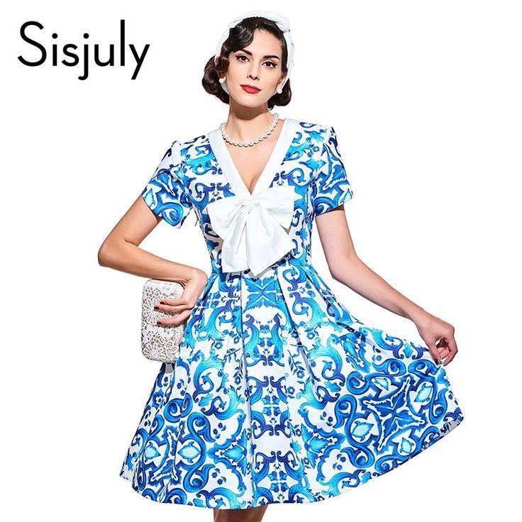 Sisjuly vintage dresses 1950s style blue print floral spring summer women party dress 2017 a-line elegant female vintage dresses