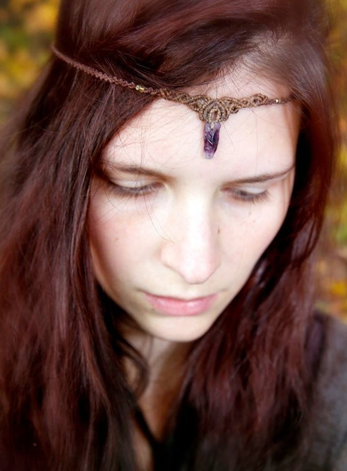 macrame tiara with raw amethyst <3