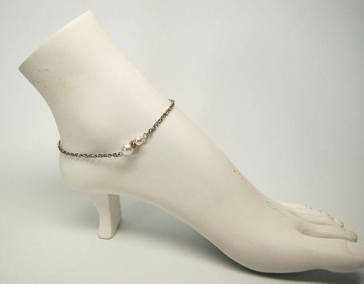 Bracelets cheville mariage élégant bijou cheville perle bijou acier inoxydable chaine de pied Création Cristal Ev. #Mamandamour de la boutique CristalEv sur Etsy