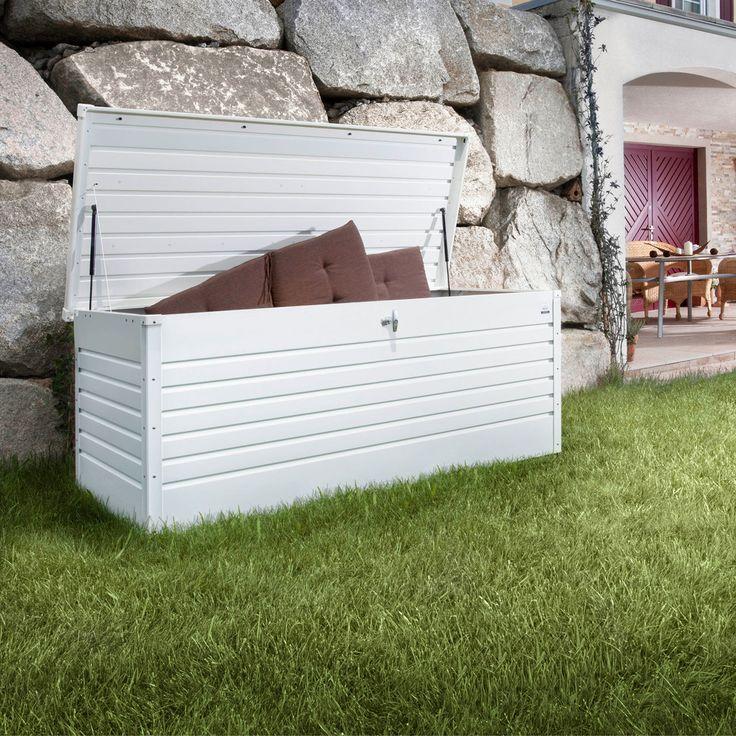 schicke gartentruhe zur aufbewahrung von sitzkissen oder gartenaccessoires regenwasserdicht. Black Bedroom Furniture Sets. Home Design Ideas