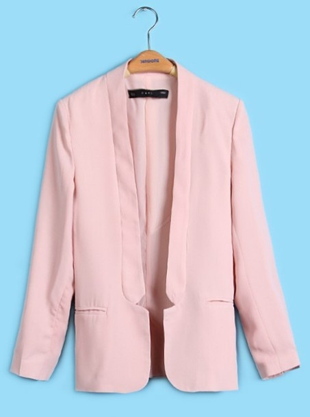 Light Pink Shawl Notch Collar Curved Hem Long Sleeve Blazer over black and white checkered dress on outfit #6