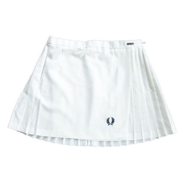 Kitty's Vintage Emporium - SOLD! 1970s Fred Perry White Pleated Tennis... ❤ liked on Polyvore featuring skirts, bottoms, seventies, tennis, white knee length skirt, pleated skirt, vintage pleated skirt, white skirt and fred perry