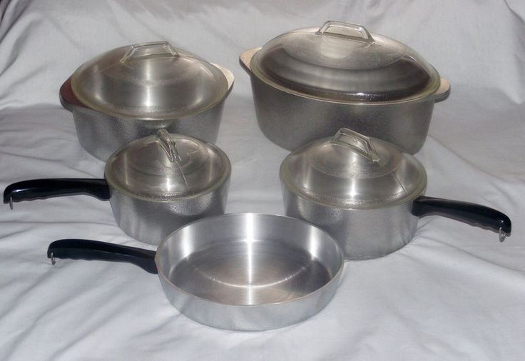 Club Hammered Aluminum Cookware 9 Pc. Set Roaster Dutch Oven Skillet Sauce Pans