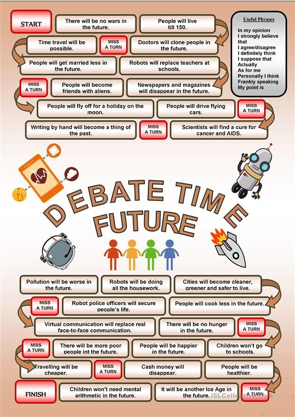 Debate time FUTURE worksheet Free ESL printable