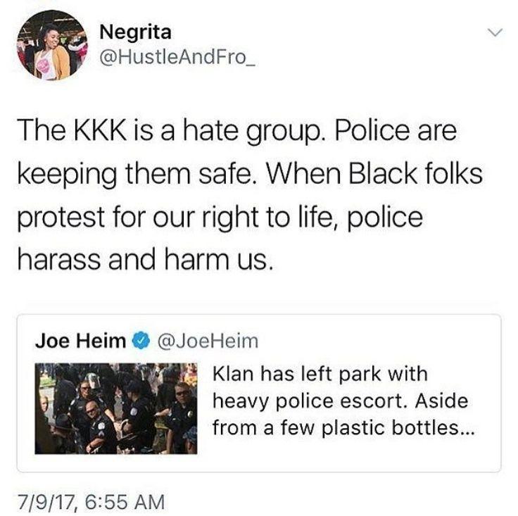 Terrorist groups do not deserve protection. The KKK is a literal terrorist group. Black people are not. You are protecting the wrong people.