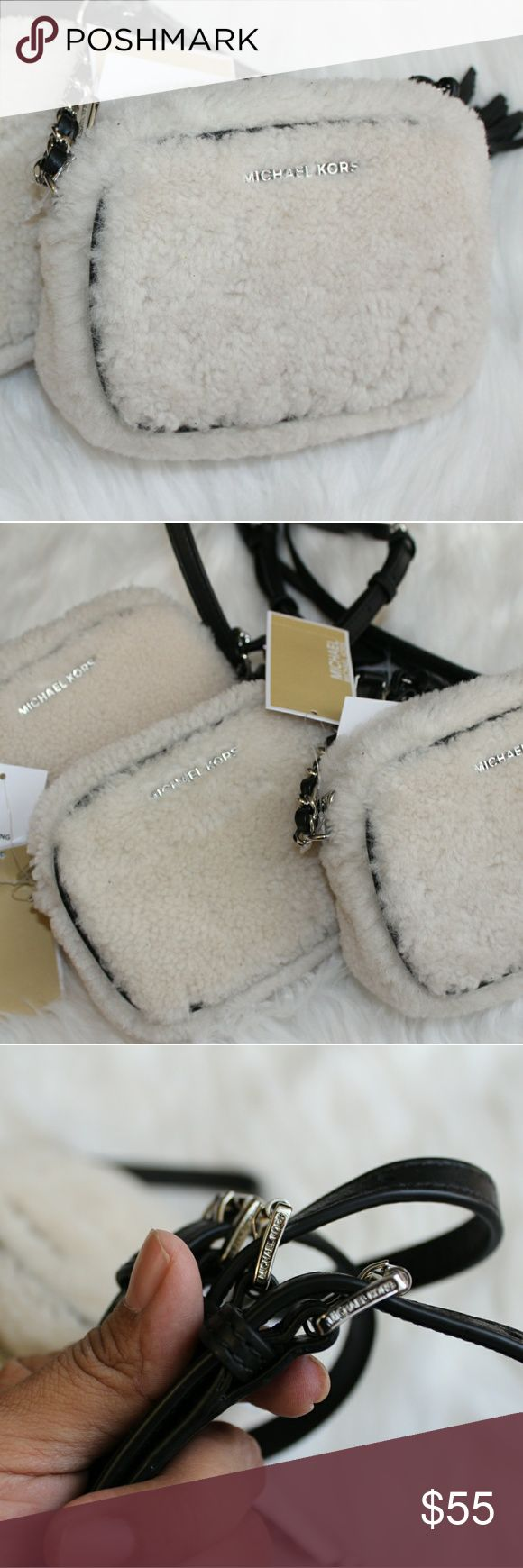 "Michael Kors Jet Set Small Crossbody Fur Bag MICHAEL Michael Kors Jet Set Travel Small Chain Crossbody Fur Bag;  Color- ivory/black  Adjustable crossbody strap  Zip closure; lined Interior slip pocket  Genuine lamb fur; dyed; fur imported from Vietnam Leather/lamb fur  6.5""L x 2""W x 5""H;  23.5"" strap drop   Price is for only one bag, but I am open to offers! MICHAEL Michael Kors Bags Crossbody Bags"