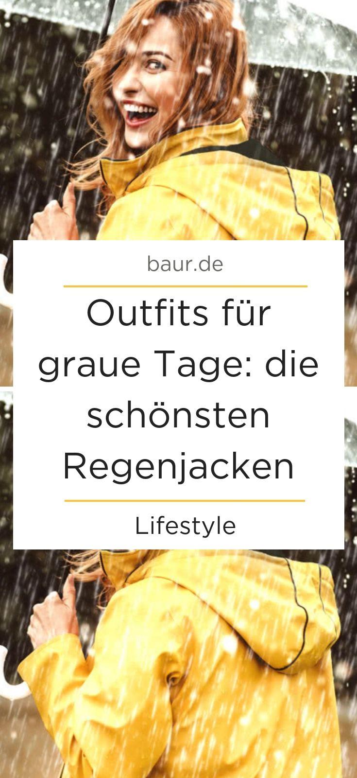 Regenoutfit – Outfits für graue Tage: die schönsten Regenjacken.  Mit einer Regenjacke oder einem Regenmantel bist du jederzeit für schlechtes Wetter gerüstet – sie sind aber auch perfekt für trockene, kalte Tage. Lass dich von unseren Outfit-Ideen inspirieren und entdecke, wie du deine Regenjacke stylen kannst. #regenjacke #regenmantel #regenjackestylen #outfitidee #outfitregenjacke #musthave #regenwetter #baur