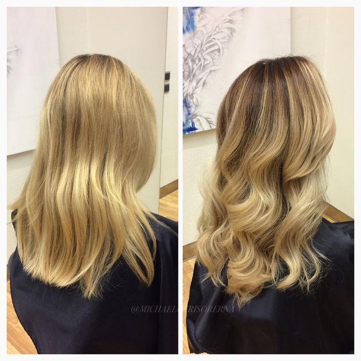 Vill  man låta håret vila lite från blekningsslitage en period, som till exempel nu under vintern, men ändå behålla ett blont intryck är en ombre eller balayage perfekt! Här nyanserar vi håret med en mörkare ton mot botten och en klar glanstoning på längderna och avslutar med kerastase Fusio Dose för ökad fukt och färgbevaring! #kerastase #fusiodose #healthyhair #michaelofrisorerna #hairpassion #stockholm #ombre #ombrehår #ombrehair #balayage #olaplex #olaplexsweden #hair #hairstyle…