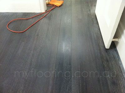 My flooring - Timber floor sanding and polishing specialist in Melbourne. Palm beach black stain and white oil finish. Old jarrah boards, monocoat finish, matt sheen.