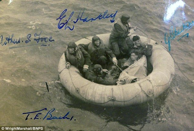 The six airmen survived in this dinghy for 11 days and were found after ingeniously creating a sail by sewing two of their shirts together using copper wire, which meant they could move at two knots an hour