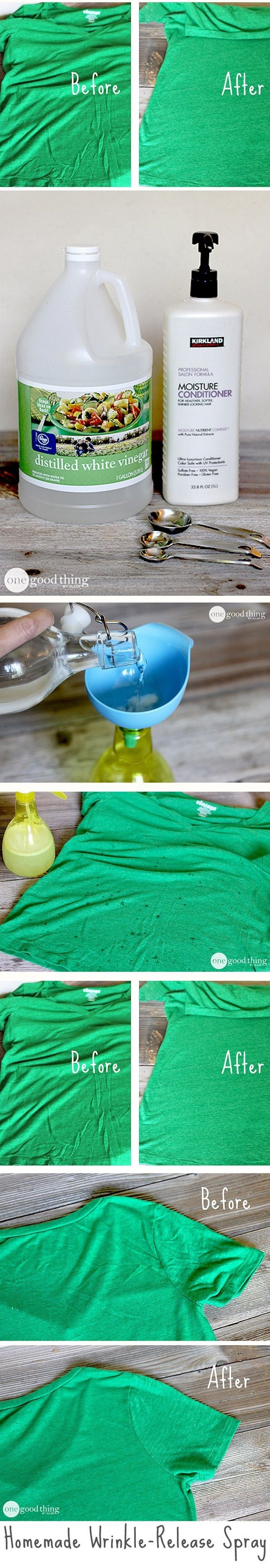 Homemade Wrinkle Release Spray  What you will need: - an empty and clean spray bottle; - 1 tbsp of hair conditioner; - 1 tbsp of white vinegar; - 2 cups of distilled water.