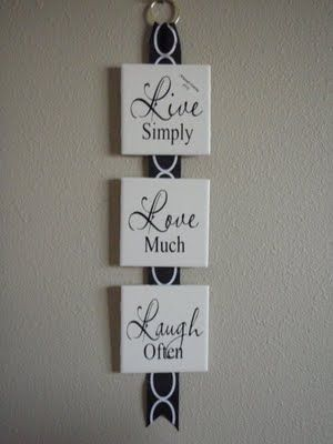 """Live - Love - Laugh Hanging Tiles from the site...""""We did these tiles at our Christmas shows last year and they proved to be very popular so we thought we would offer them as a Super Saturday kit. Each tile measures 4"""" x 4"""" and the entire hanging measures approximately 16""""."""""""