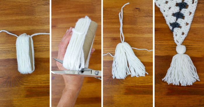 How to make a tassel out of yarn. Step-by-step tutorial using a toilet paper tube.