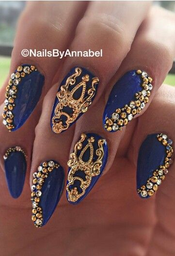 gold nails navy gold and navy on pinterest
