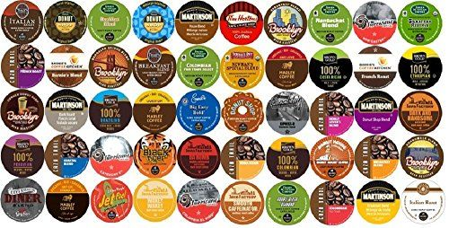 50-count K-cup for Keurig Brewers All REGULAR Coffee Variety Pack Featuring Tim Horton's, Green Mountain, Coffee People, Broolyn Bean, Newman's Organic, Donut House, Caza Trail, Emerils, Barnie's Coffee Kitchen, Hurricane, Guy Fieri, Brown Gold, Martinson, Marley Coffee, Brooklyn Bean, Java Factory, Authentic Donut Shop & Tully's - http://teacoffeestore.com/50-count-k-cup-for-keurig-brewers-all-regular-coffee-variety-pack-featuring-tim-hortons-green-mountain-coffee-people