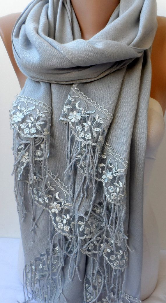 Silver Gray French Lace Light Gray Pashmina Shawls Soft Lightweight Scarf Bridesmaid pashmina Women Wedding Trend Feminine Gifts for mother  Thank